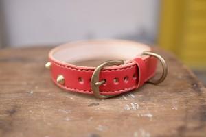 赤い革の尖ったスタッズのついた首輪