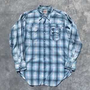 50's LEVI'S リーバイス チェックウェスタンシャツ ショートホーン 水色 美品 M~L 希少 ヴィンテージ