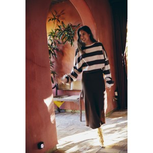 STRIPE TOMBOY SWEAT SHIRT (brown) TNH19100-31