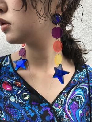 Vintage blue stare multi clear pierced earrings ( ヴィンテージ  ブルー スター マルチクリア ピアス )