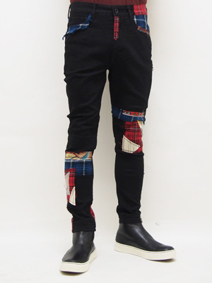 SEVESKIG (セヴシグ)  SKINNY REPAIR PANTS / BLACK   PT-SV-HA-1011-1