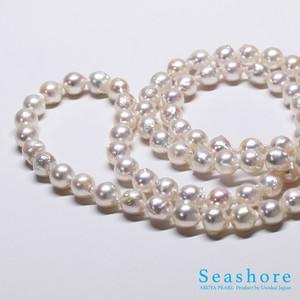 真珠ネックレス・バロックロング80cm【8.5~8.0mm】ピンクホワイト【宇和海あこやパール】