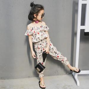 KIDS オフショルダーセットアップ パンツ 全3色 子供服(5歳〜12歳)