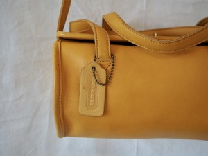 Old Coach 2way Shoulder Bag Yellow Leather 90's Made in USA