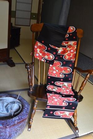 アンティーク袋帯★雲取りに豪華菊刺繍