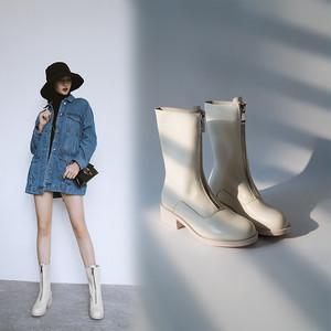 ジップアップショートブーツ ブーティー マーティンブーツ レディース ミドルヒール 太ヒール  シューズ  靴  大きいサイズ 黒 白7133