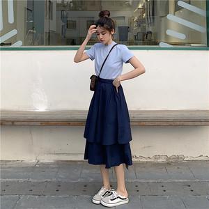 【セットアップ】【単品注文】元気いっぱいTシャツ/イレギュラーロングスカート2点セット20055515