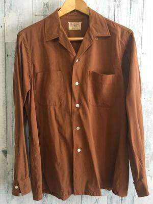 アメリカ製ビンテージ希少challishan ENROオープンカラーギャバジンシャツ50s60s