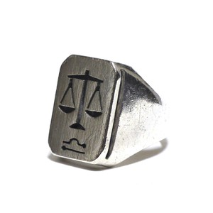 Vintage Sterling Silver Mexican Libra Zodiac Sign Scales Ring