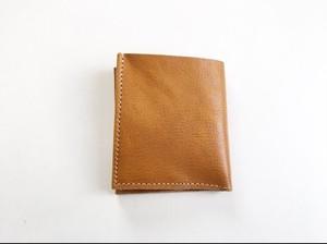 スッキリかっこよく 本革 キャメル 札入れ 2つ折り財布