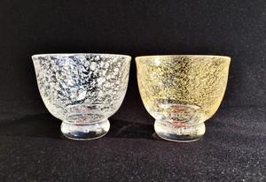 ギフト★ペア 麻炭ガラス『オーロラ銀河紅白&オーロラ銀河紅白(GOLD)酒盃/桐箱入り 』