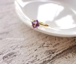 天然石の指輪■スクエアカットのアメジスト アフリカ産