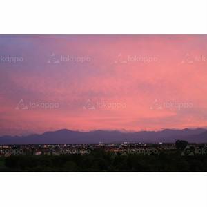 夕焼けの日高山脈