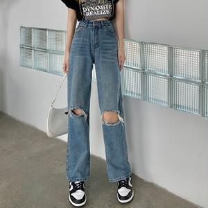 【ボトムス】一番人気 韓国系 ファッション ダメージ加工 ハイウエスト 無地 ハイウエストデニムパンツ45954981