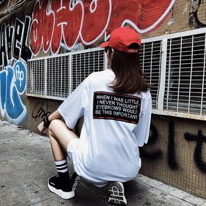 韓国 原宿 スタイル ルーズカジュアル ロングレター 半袖 Tシャツ ゆったり シャツ