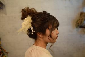 【 white single 】ドライフラワーヘアーオーナメント