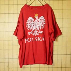 80s 90s ポーランド製 POLSKA プリント Tシャツ 半袖 レッド メンズM相当 国章 古着 051320ss45