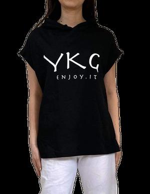 【YKG】フード付きタンクトップ【ブラック】【新作】イタリアンウェア《M&W》