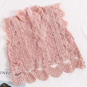 2640 ノースリーブレースブラウス 薄ピンク
