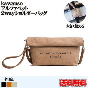 送料無料 kawauso【2way 英字 ショルダーバッグ】合皮 レザー レディース かばん(灰色・黒・ベージュ)