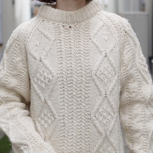 Cable Sweater / モックネック ケーブル編み セーター