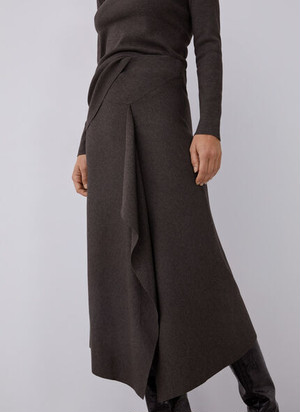 THICK STRETCH-KNIT SKIRT WITH GODET