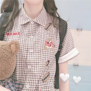 【トップス】日系スウィートレトロチェック柄刺繍シャツ