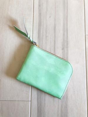 クール&ポップ シン L字財布 カードケース 本革 迷彩柄 メロン グリーン