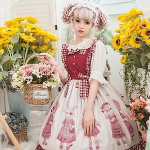 【ワンピース】lolitaキュートスカタップスリーブスウィート動物柄プリントボールガウンワンピース