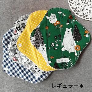 【送料無料】 布ナプキン (レギュラー) * 4枚セット [クマさんとフクロウ]