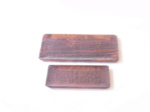 讃岐塗 木製 くりぬき ノミ彫トレー 大・小 二枚組セット うるし塗