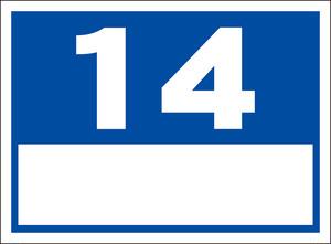 シンプル看板「番号票14(白窓付)」屋外可・送料無料