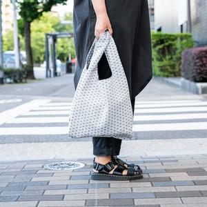 レジ袋型エコバッグ 麻の葉 白×黒