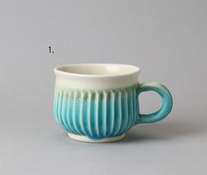 トルコ釉の菊カップ ・青| 環窯