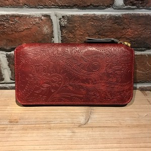 Round Zipper Long Wallet TYPE2 Embossing Paisley Wine