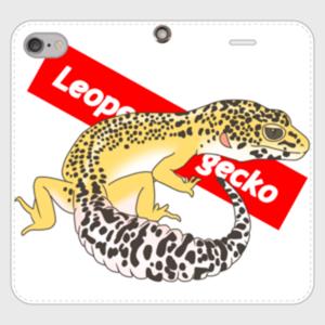 レオパードゲッコー 手帳型スマホケース ホワイト