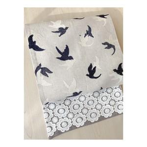 eco帯-鳥の刺繍とお花のレースの八寸名古屋帯-