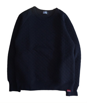 KNIT QUILT SWEAT /BLACK