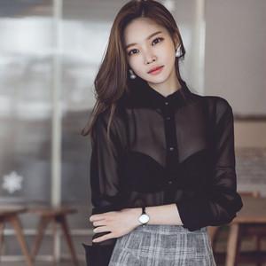 長袖シースルーシャツ シフォンシャツ 黒ブラック 日焼け対策シャツ  大きいサイズXL