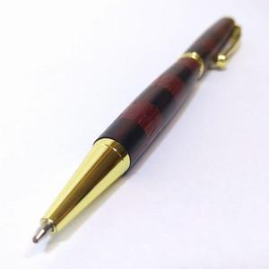 寄せ木ボールペン 2トーン(パープルハート × 縞黒檀)