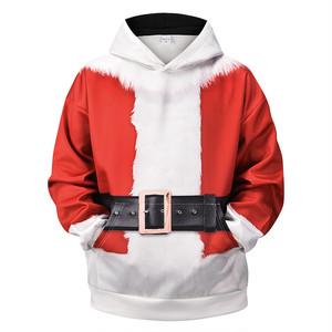 1026 フードパーカー メンズ クリスマス Xmas サンタクロース スウェットシャツ トップス 長袖 プルオーバー プリント柄 柄パーカー ゆったり
