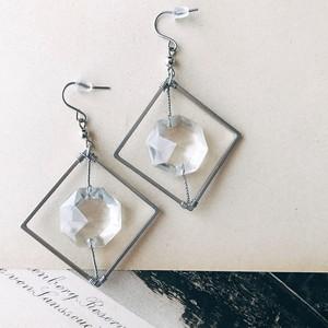 Chandelier earrings -square- [silver]