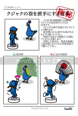 クジャクの羽を派手にする仕事(ポストカード)