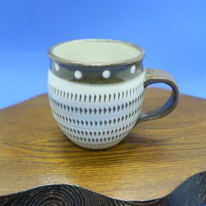 小石原焼 マグカップ トビカンナフチ茶ドット 上鶴窯