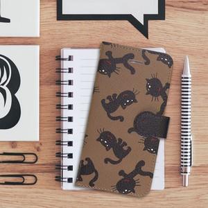 【S/Msize】黒猫だらけの手帳型スマホケース #iPhoneX対応