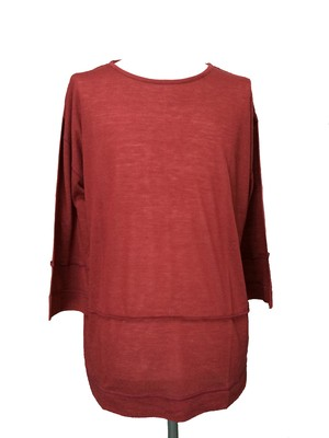 STRATUM DROP SHOULDER CROPPED SLEEVES -MAROON-