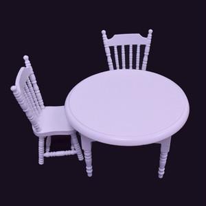 丸テーブル・椅子2脚セット(白)