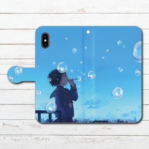 #048-001 手帳型iPhoneケース ・ 手帳型スマホケース 《青空を飛ぶ》 作:みふる オリジナルデザイン  ノスタルジー系 女の子系 iPhoneX対応 全機種対応 Xperia ARROWS AQUOS Galaxy HUAWEI Zenfone