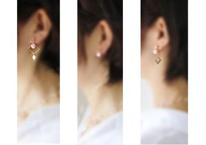3Way ノンホールピアス・2種のスクエア&形飾りと一粒淡水真珠