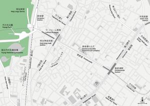 東京 原宿・表参道・青山 地図フリー素材A4(eps)日本語/英語 並記版